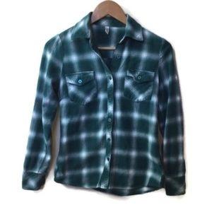 RVCA Green Plaid Flannel Button Down Shirt Size XS
